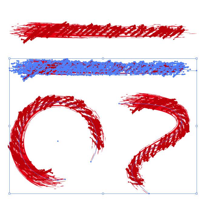 赤色のぐじゃっとしたイラレ・アートブラシ