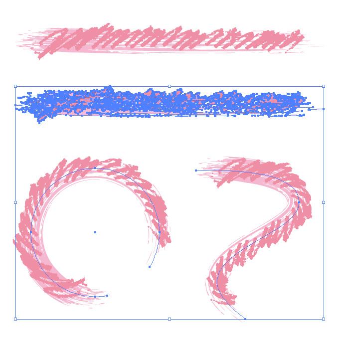 ピンク色のぐじゃっとしたイラレ・アートブラシ