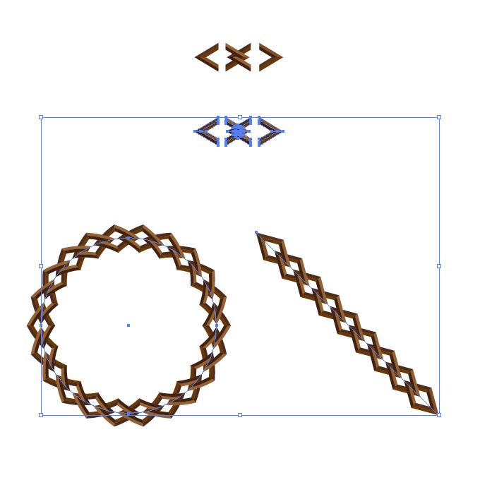 茶色い菱形の鎖・チェーンイラストのイラレ・パターンブラシ