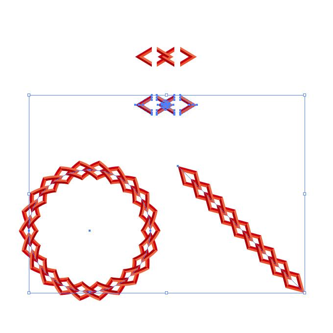 赤い菱形の鎖・チェーンイラストのイラレ・パターンブラシ
