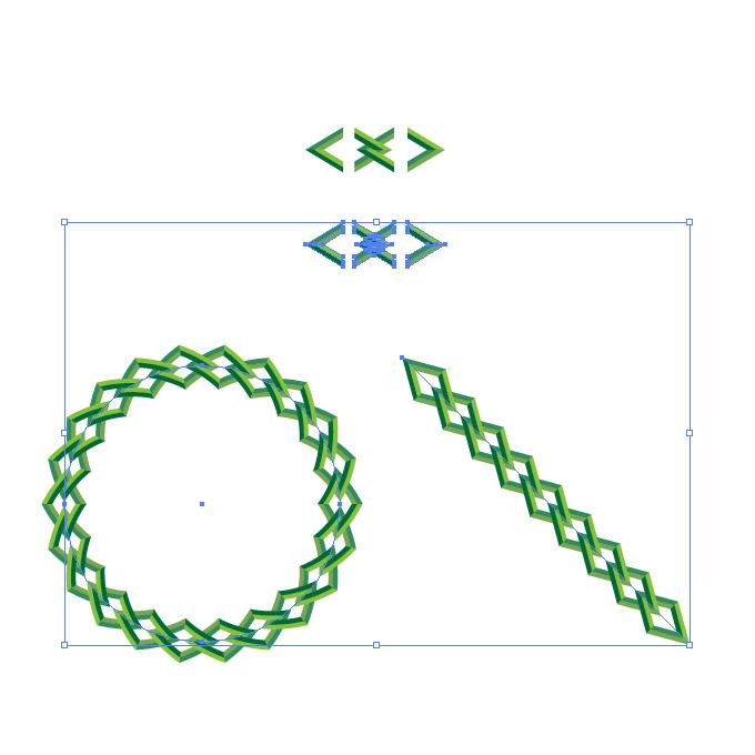 緑色の菱形、鎖・チェーンイラストのイラレ・パターンブラシ