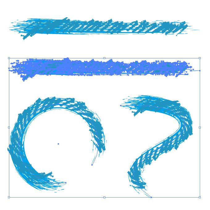青色のぐじゃっとしたイラレ・アートブラシ