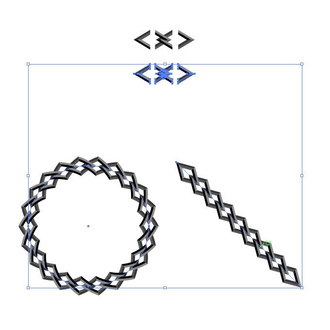 黒い菱形の鎖・チェーンイラストのイラレ・パターンブラシ