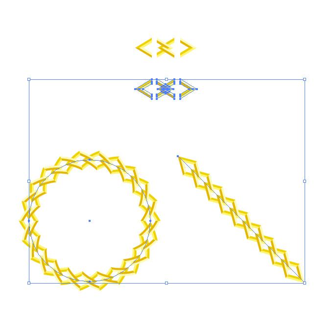 黄色い菱形の鎖・チェーンイラストのイラレ・パターンブラシ
