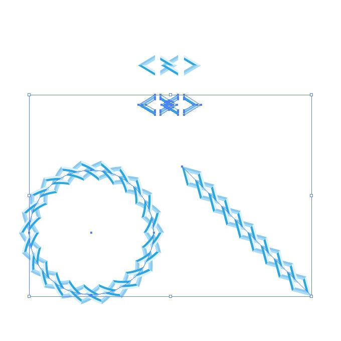 青い菱形の鎖・チェーンイラストのイラレ・パターンブラシ