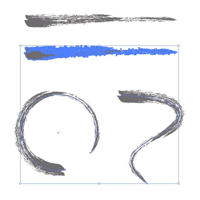 グレーのかすれた毛筆イラレ・アートブラシ