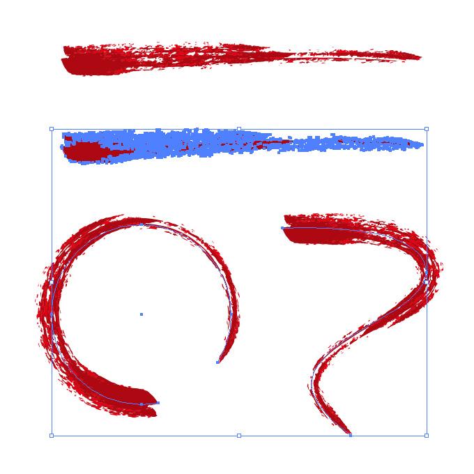 濃い赤のかすれた毛筆イラレ・アートブラシ