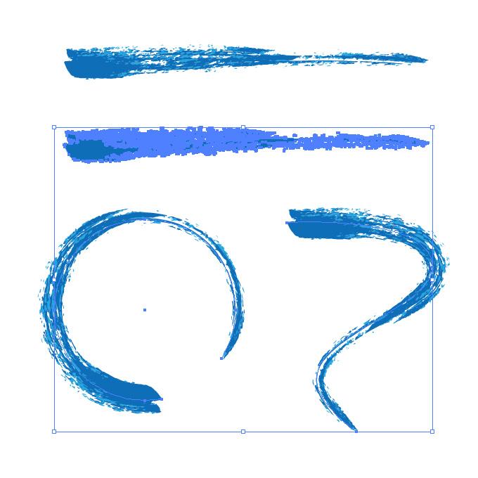 青色のかすれた毛筆イラレ・アートブラシ