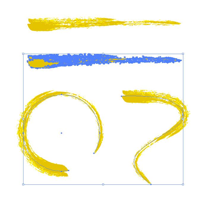黄色のかすれた毛筆イラレ・アートブラシ