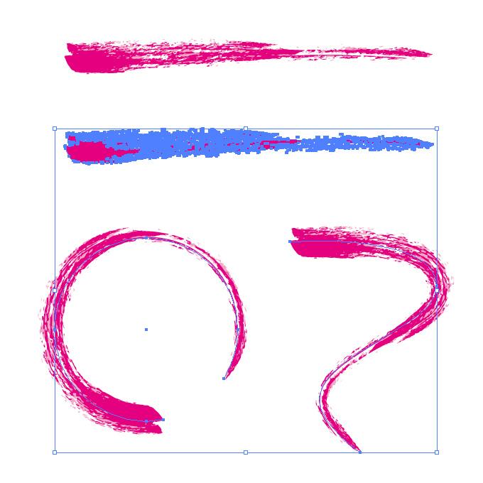 ピンク色のかすれた毛筆イラレ・アートブラシ