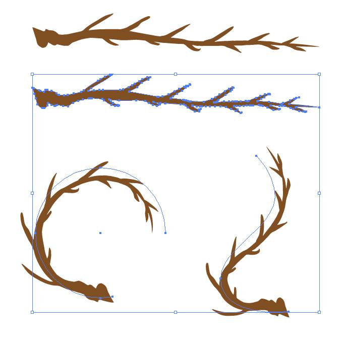 枝分かれしたようなのイラレ・アートブラシ