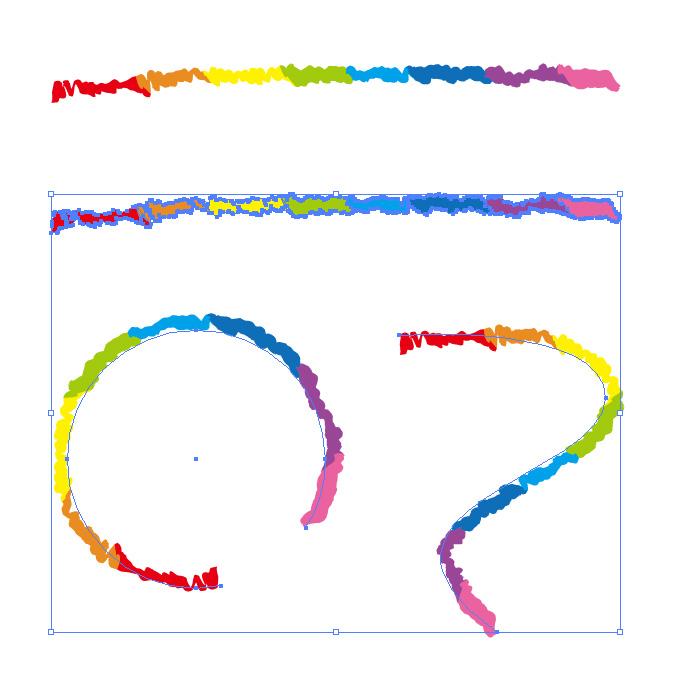 色が変化するゲジゲジしたイラレ・アートブラシ