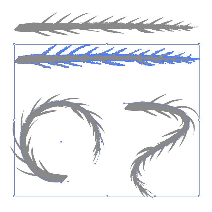 魚の背骨のようなイラレ・アートブラシ