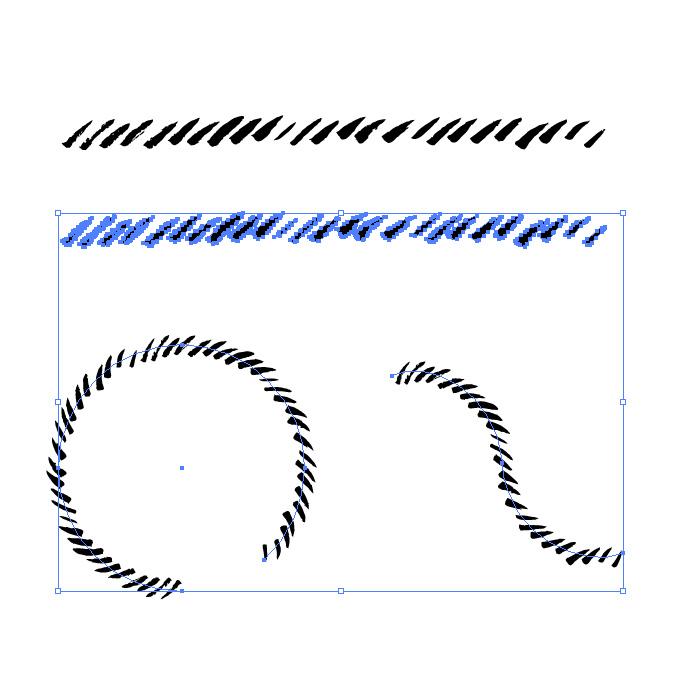 ラフな筆の斜線、イラレ・パターンブラシ