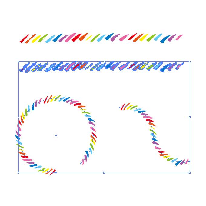 カラフルでラフな毛筆の斜線、イラレ・パターンブラシ