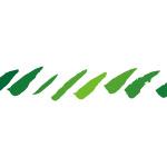 緑色のグラーデーションがかったラフな毛筆の斜線、イラレ・パターンブラシ