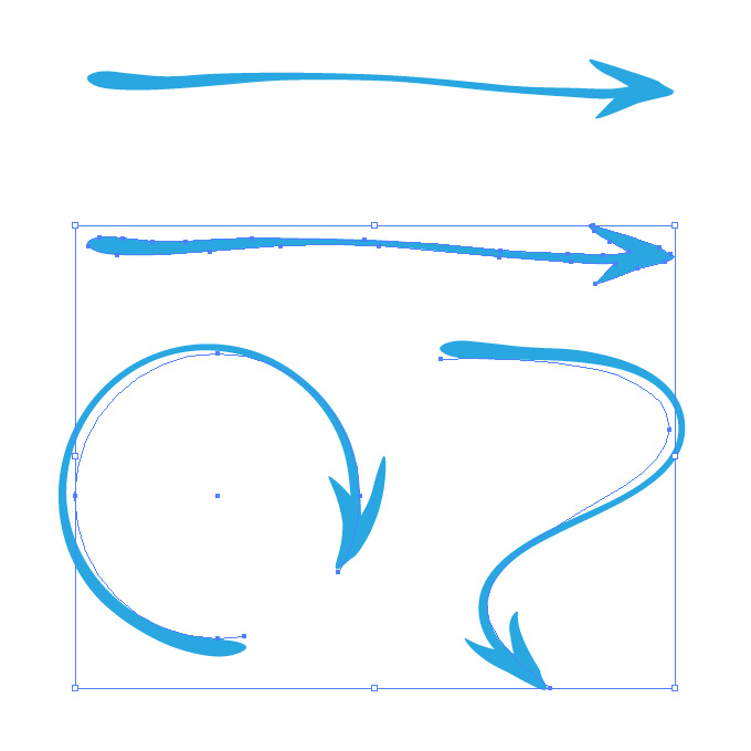 緩めの青い矢印のイラレ・アートブラシ