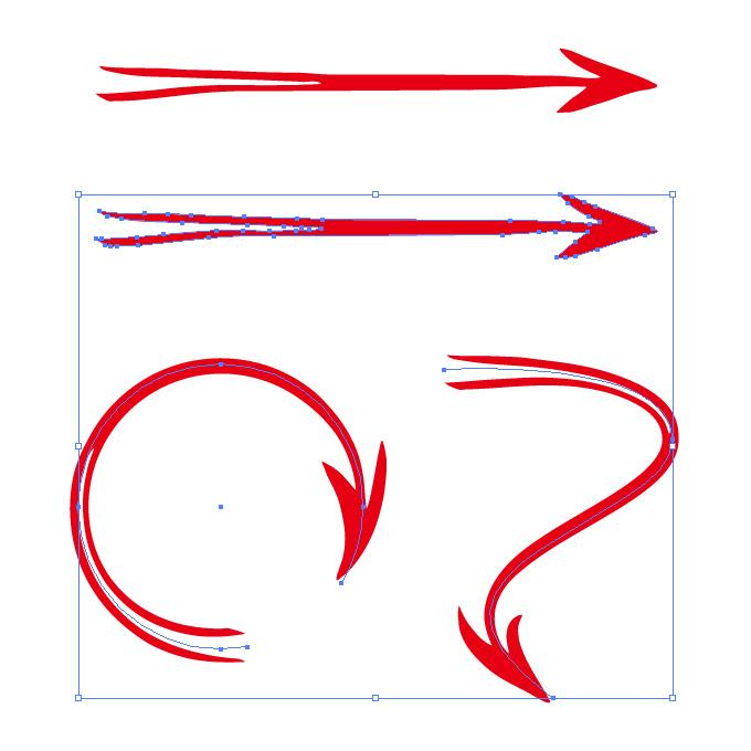 後ろが2つに分かれた赤い矢印のイラレ・アートブラシ