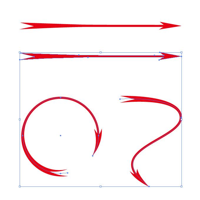 尖った赤い矢印のイラレ・アートブラシ