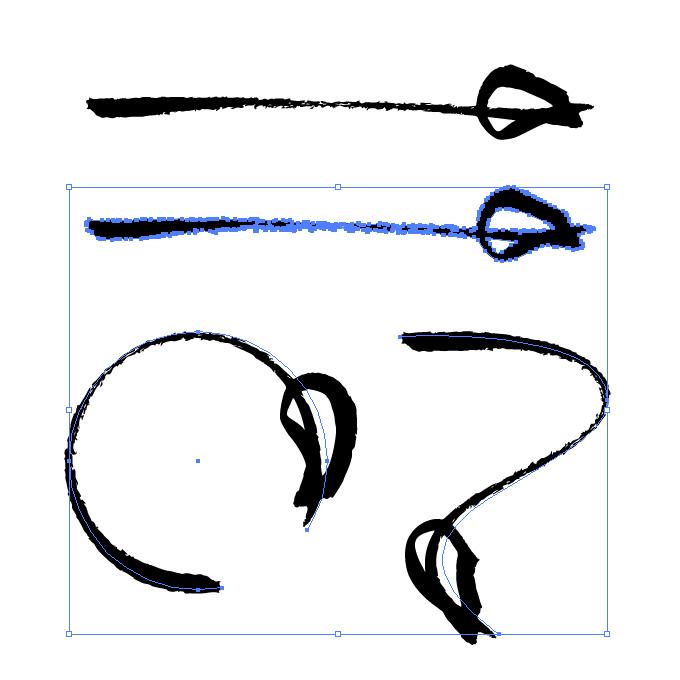 ラフなタッチの毛筆矢印のイラレ・アートブラシ