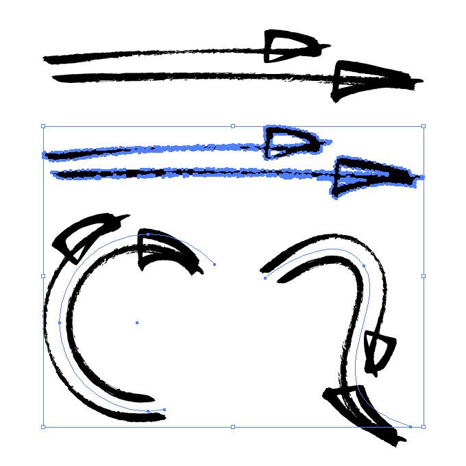ラフな2本の毛筆矢印のイラレ・アートブラシ