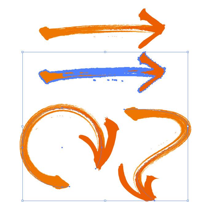 オレンジ色の力強い毛筆矢印のイラレ・アートブラシ