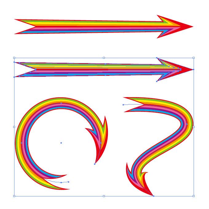 レインボーカラー矢印のイラレ・アートブラシ