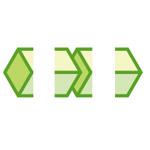 緑色のキューブがつながるイラレ・パターンブラシ