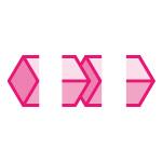 ピンク色のキューブがつながるイラレ・パターンブラシ