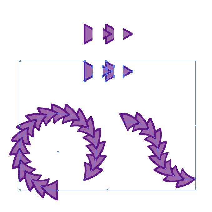 紫色の三角形がつながるイラレ・パターンブラシ