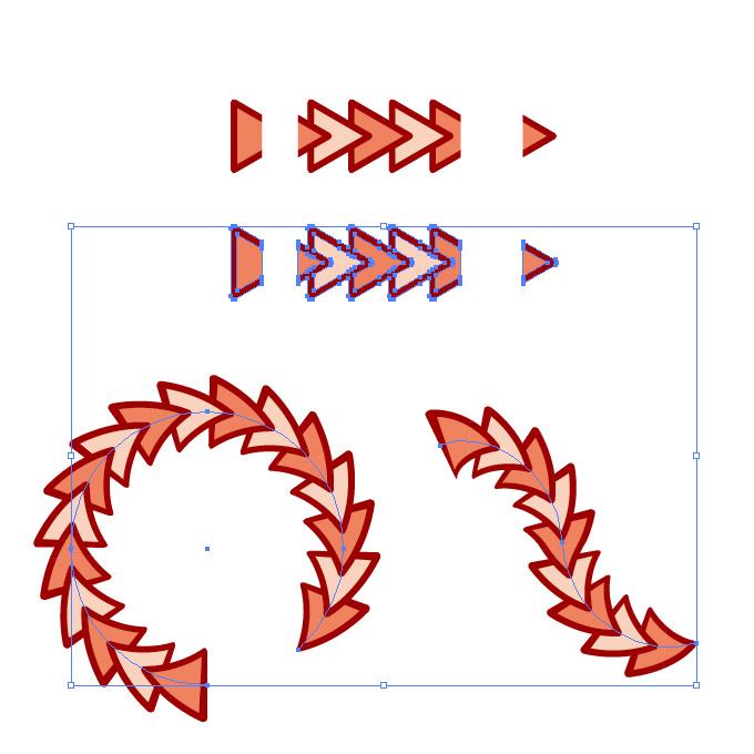 赤色の三角形がつながるイラレ・パターンブラシ