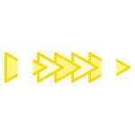 黄色の三角形がつながるイラレ・パターンブラシ