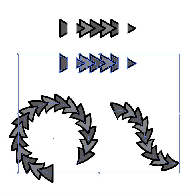 黒色の三角形がつながるイラレ・パターンブラシ