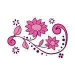 ピンク色の植物のイラスト、イラレ・パターンブラシ