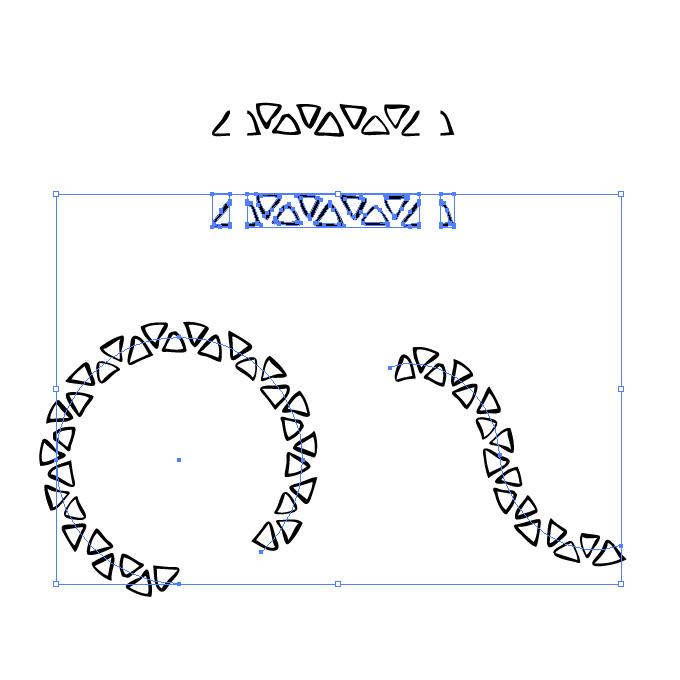 黒いラフな三角形のイラレ・パターンブラシ