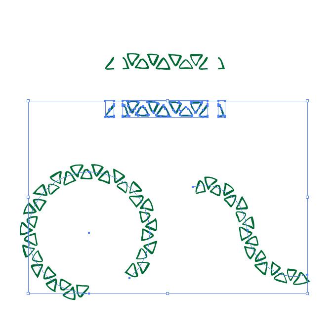 緑色のラフな三角形のイラレ・パターンブラシ