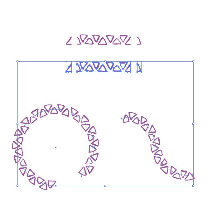 紫色のラフな三角形のイラレ・パターンブラシ