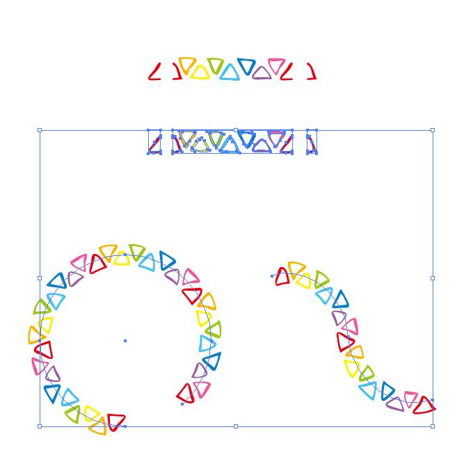 虹色にラフな三角形が並ぶイラレ・パターンブラシ