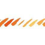 オレンジ色のグラーデーションがかったラフな毛筆の斜線、イラレ・パターンブラシ