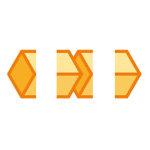 オレンジ色のキューブがつながるイラレ・パターンブラシ