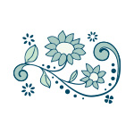 青色の植物のイラスト、イラレ・パターンブラシ