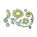 緑色の植物のイラスト、イラレ・パターンブラシ