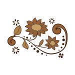 茶色の植物のイラスト、イラレ・パターンブラシ