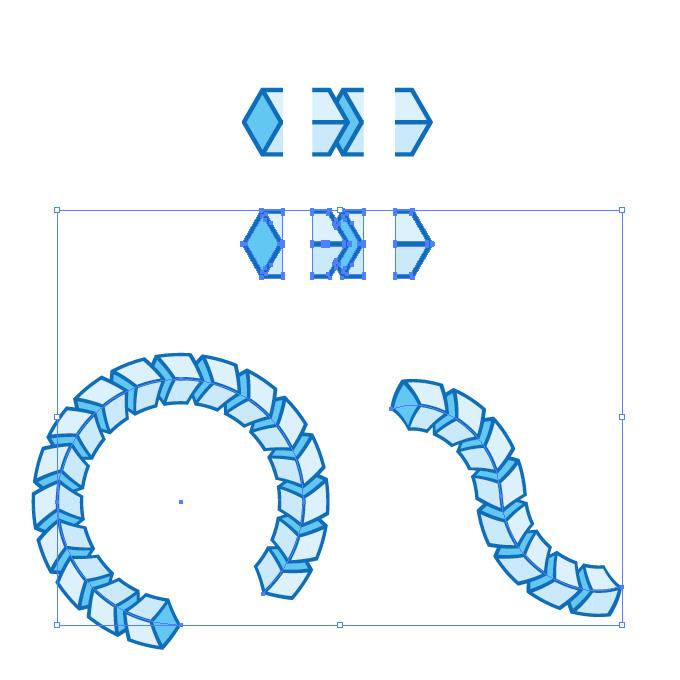 青色のキューブがつながるイラレ・パターンブラシ