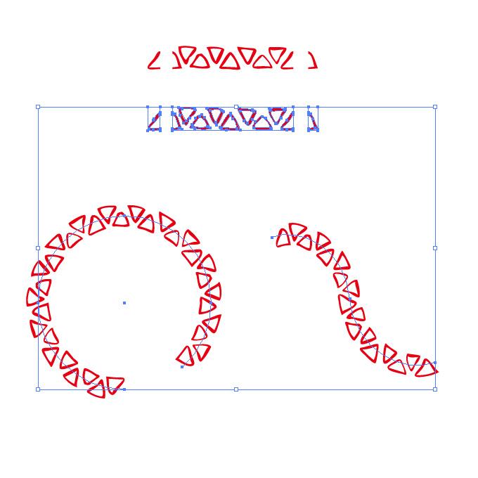 赤いラフな三角形のイラレ・パターンブラシ